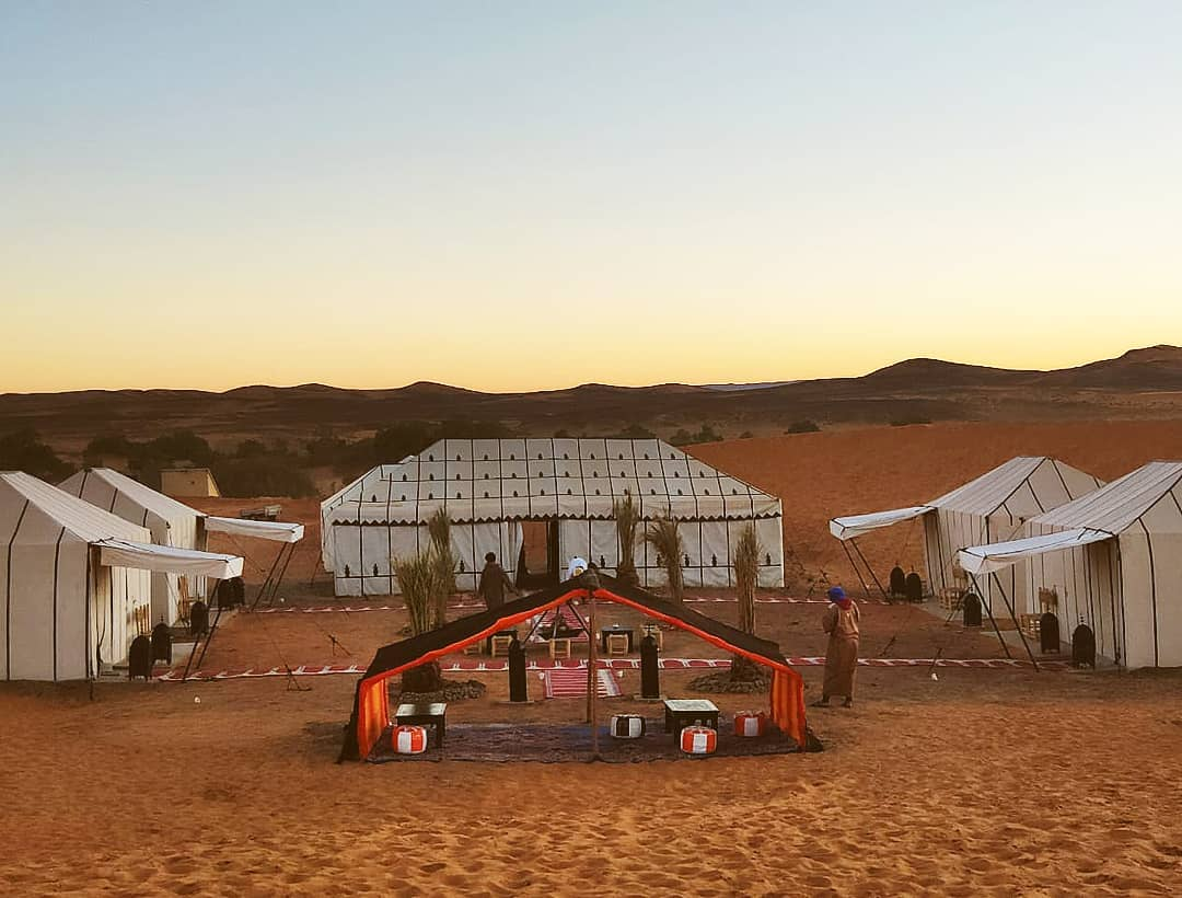Morocco camping in the desert