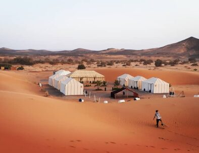 camping in the Sahara desert of Merzouga with our tour of 3 days Fes to Merzouga desert