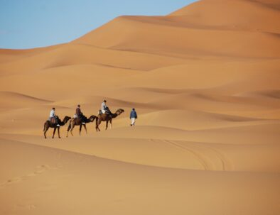 Camel trekking with our Fes to Fes to Marrakech desert tour